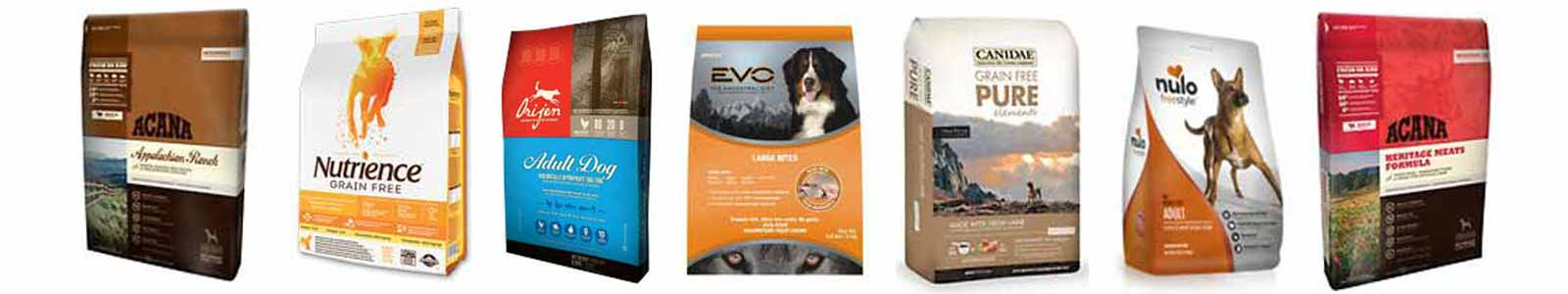 Multiple bags of large breed grain free dry kibble dog food